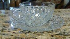 Vintage Depression Glass Clear Teacup & Saucer Criss-Cross Diamond Pattern