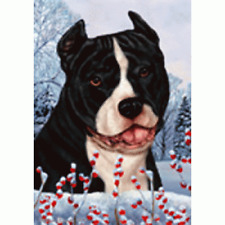 Winter House Flag - Black and White American Pit Bull Terrier 15405