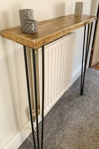 Reclaimed Wood Handmade Radiator Cover Table with Hairpin Legs - 100cm wide