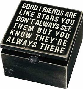 Primitives Classic Hinged Wood Box 4 x 4 x 7.75 inch Good Friends are Like Star