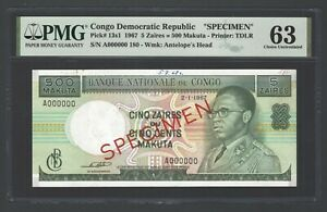 Congo Democratic Republic 5 Zaires 2-1-1967 P13s1 Specimen Uncirculated Grade 63