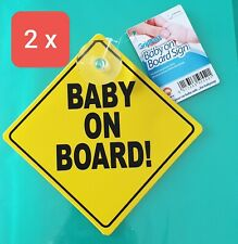 2  x Baby On Board Car Signs  Suction Cup Baby Passenger Warning  Gripfast UK