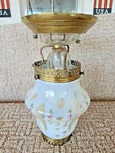 Victorian Opalescent Hand Painted Milk Glass Globe & Brass Ceiling Light Fixture