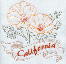 "STATE OF CALIFORNIA FLOWER FLORAL REDWORK 8"" MACHINE EMBROIDERED QUILT BLOCK (HP"