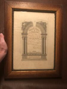 Antique 1887 Royal Arch Masonry Maine Masonic Framed Certificate
