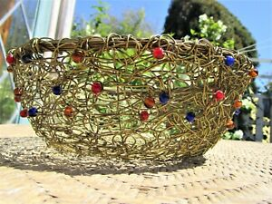 "Solid Brass Woven Wired Glass Beads 9"" Basket Centerpiece Vintage Kitchen Decor"
