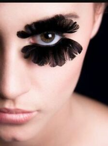 fancy dress vampire witch costume party Black long thick feather fake eyelashes