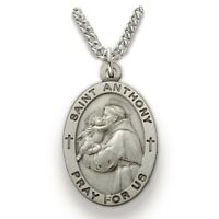 Sterling Silver Oval Saint Anthony Patron of Lost Articles Medal, 7/8 Inch