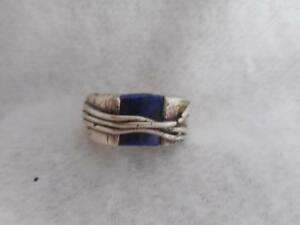 CHUNKY HM 925 STERLING & LAPIS GLASS WIRE WRAPPED RING RING SIZE 6.25 - 18 GRAM