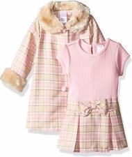 "NEW Youngland Girls ""PINK & GOLD TAN FUR"" Size 3T Plaid Dressy Coat & Dress NWT"