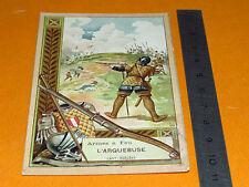 CHROMO 1920 BON POINT ECOLE ARMES A FEU L'ARQUEBUSE FUSIL