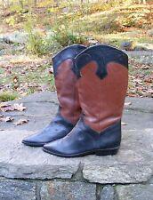 NINE WEST Cowboy Boots, Black & Tan Amelia Western-style Boots 8.5 M