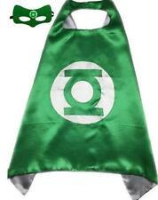 Green Kids Superhero Cape & Mask Boy Girl Party Costume Set Superman Batman