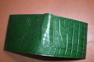 DARK GREEN/ GENUINE Alligator,CROCODILE s bally Leather Skin MEN'S BIFOLD WALLET