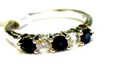 14K White Gold Blue & White Sapphire Round Band Ring, Size 7, 1.00(TCW), 2.6GR