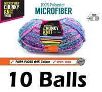 10 x Microfiber Knitting Chunky Yarn 3 Ply 100g Fairy Floss Mix Colour Brand New