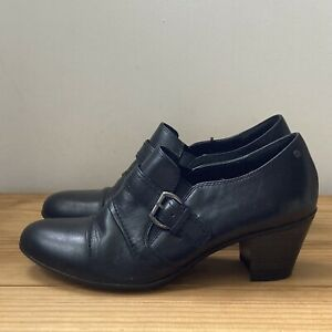 M&S Footglove shoes size 7 black leather booties buckle strap trouser