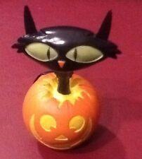 Halloween Decor Black Cat Moving Head Sitting on a Pumpkin