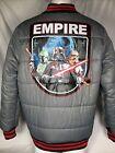 Star Wars Puffer Varsity Jacket Grey Empire Darth Vader Boba Fett Men's XL
