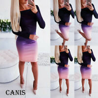 Womens Ladies Long Sleeve Casual Slim Party Bodycon Mini Dress Gradient Color