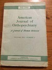 American Journal of Orthopsychiatry July 1949 Shakow Bender Deri Devereux Liss