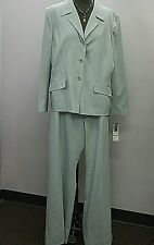 NEW Le Suit Womens 18 Surf Green 2 pc Long Sleeve Suit Jacket and Pants