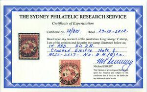 1913 Australia SG2/ACSC-2017-No 4.A.(g)la Roo 1st Wmk1d Red Cracked Electro