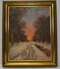 Gemälde. Öl auf Leinwand. Winterliche Ausfahrt. Unleserlich signiert.