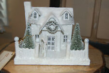 Bethany Lowe White Putz House with Deer & Bottle Brush Trees & wreath Lc4588