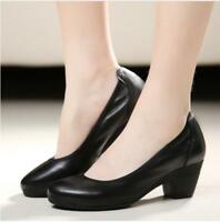 Women's leather Mid Chunky Heel comfy casual Pumps Slip on Work loafer Shoes