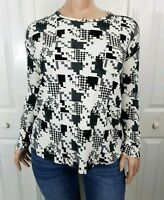 Westbound Womens Cotton Shirt Size XL Black White Long Sleeve Top