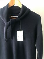 [CR LOVE] NEW! SZ S,M [COUNTRY ROAD] fringe scarf neck knit jumper navy 10,12