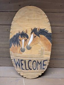 Handmade Horses Wood Welcome Sign Plaque