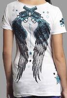 Rebel Saints AFFLICTION Women T-Shirt GOODIES Guns Tattoo Biker Sinful S-XL $40
