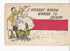 1909 I HARDLY KNOW WHERE TO BEGIN BARBERSHOP SITTING IN CHAIR VESTABURG MI PC