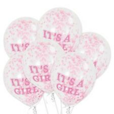 "12"" It's a Girl Confetti Balloons 6 ct Clear Latex Balloons Pink Paper Confetti"