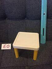 Vintage Little Tikes White Yellow Doll House Size Table Desk GUC