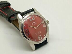 genuine hmt pilot hand winding men's steel red dial 17j vintage india watch run