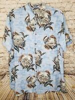 Batik Bay Mens 2XLT Hawaiian Shirt Blue Tropical Palm Tree