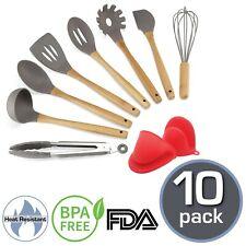 SOUS CHEF 10 Pc Silicone Kitchen Utensil Set –  For Cooking, BPA Free, Non Toxic