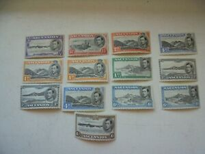 13 stamps from Ascension KGVI 1938 shades on 1d,3d,4d,& 6d 1/2d to 1/- all MM