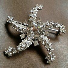 Art Deco Sterling Silver Signed Star Pin/Brooch W/Prong Set Rhinestones-EUC