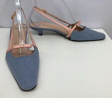 ESCADA SHOES SLINGBACKS NEW CHAMBRAY BLUE DENIM PINK SILK BOWS SIZE 38 8