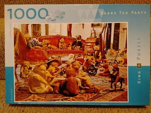 """KING Teddy Bears Tea Party 1000 Piece 19"""" x 27"""" Jigsaw Picture Puzzle"""