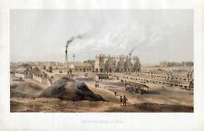 Die Hochofen-Anlage zu Hörde-Dortmund - Lithographie von W. Loeillot 1861 Selten