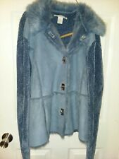 Women's Lisa International Blue Sweater Suede Faux Fur Jacket Coat Size XL 18