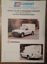 VAUXHALL BRAVA Refrigerated Transport orig 1990s UK Mkt Sales Leaflet Brochure
