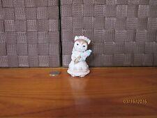 Decorative miniature cat figurine bride gown flower bouquet colorful design