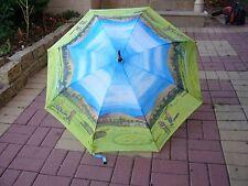 """VINTAGE GOLF UMBRELLA PARASOL 48"""" WOOD BRASS HANDLES  Umbrella"""
