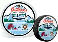 2021 Lake Tahoe NHL Stadium Series Dueling Puck Vegas v Colorado in Display Tube